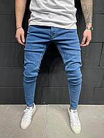 Мужские стильные зауженные джинсы (Синие) 5915