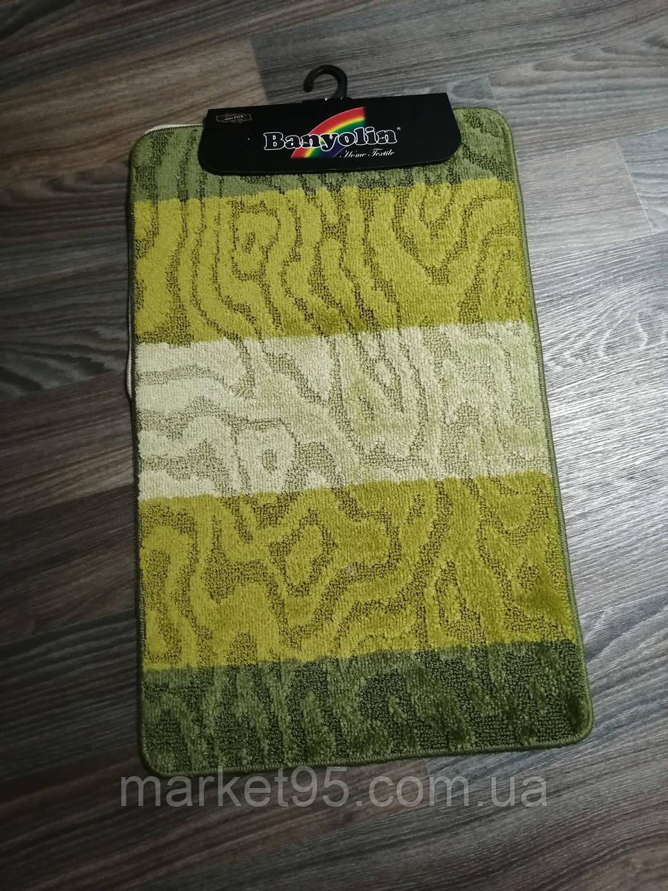 Набор ковриков в ванную и туалет 80*50 см Banyolin зелёный