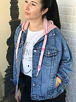 Джинсовая куртка со съемным капюшоном, фото в живую