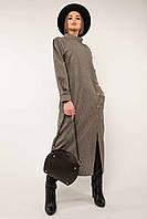 ✔️ Стильное теплое платье миди с длинным рукавом Долорес в стиле бохо 42-56 размеры молочное и шоколадное