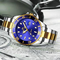 Часы оригинальные мужские наручные кварцевые Megalith 0037M Silver-Gold-Blue / стальной ремешок, фото 3