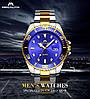 Часы оригинальные мужские наручные кварцевые Megalith 0037M Silver-Gold-Blue / стальной ремешок, фото 2