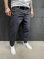 Модные демисезонные мужские джинсы МОМ (черный) 5894