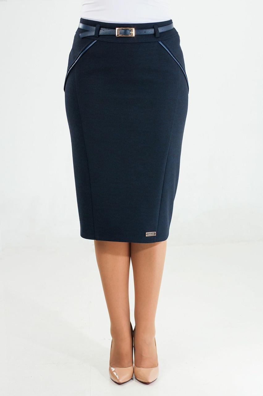 Женская тёплая юбка Софи синего цвета 50 размер