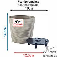 Вазон для растений Алеана Фьюжн 16*14,5см какао (Горшок пластиковый со вставкой (кашпо) Фюжн, фото 2