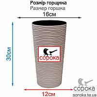 Горшок со вставкой Алеана Фьюжн 16*30см какао 2,7л (Вазон Фьюжн 16х30), фото 2