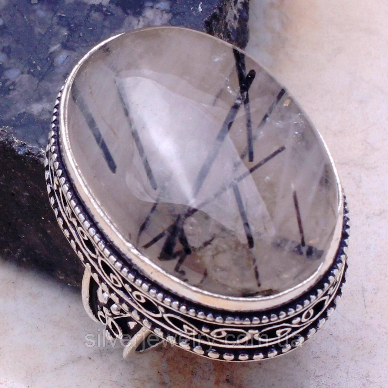 Кольцо с ТУРМАЛИНОВЫМ КВАРЦЕМ (натуральный). Размер 17