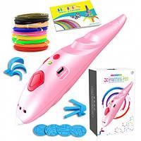 3D ручка с аккумулятором 3D Painting Pen 9902 для объемного рисования пластиком + трафареты Розовая