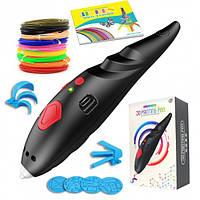 3D ручка с аккумулятором 3D Painting Pen 9902 для объемного рисования пластиком + трафареты Черная
