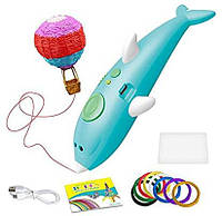 3D ручка с аккумулятором дельфин + трафареты для рисования 3D Painting Pen 9903 Dolphin Голубой