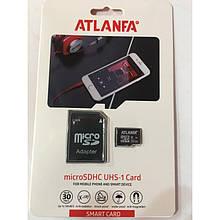 Карта памяти 32Gb class 10 microSDHC ATLANFA + адаптер AVE