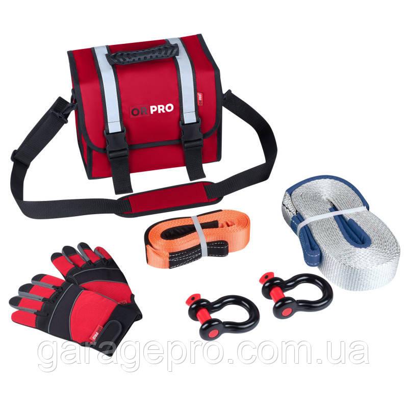 Малый такелажный набор с рывковой стропой 6000 кг (Красная сумка)