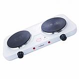 Двухконфорочная электроплита дисковая настольная электрическая плита Crownberg CB-3746 2000W AVE, фото 2