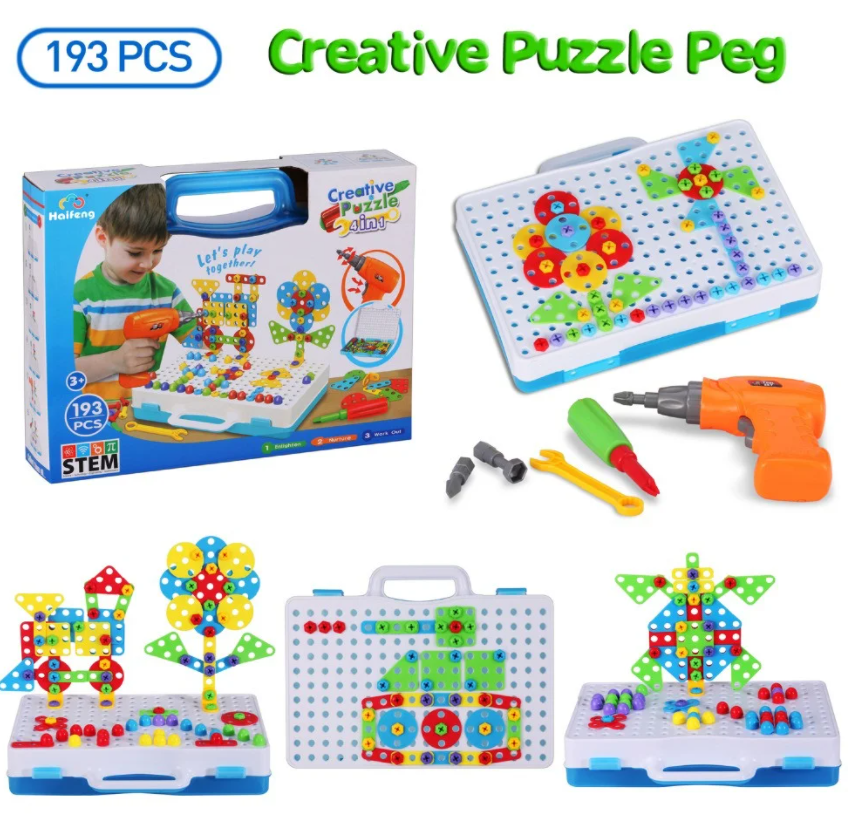Мозаика конструктор с шуруповертом Creative Puzzle 193 детали TLH-28 AVE