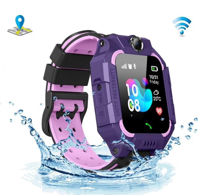Детские умные смарт-часы телефон с GPS и камерой Q19 влагозащита-родительский контроль-прослушка Violet