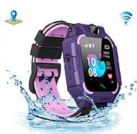 Детские умные смарт-часы телефон с GPS и камерой Q19 влагозащита-родительский контроль-прослушка Violet, фото 1