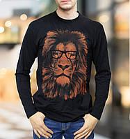 Футболка лонгслив мужская с принтом Лев в очках