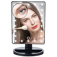 Зеркало настольное с подсветкой LED - бренд Large Led Mirror ЧЕРНОЕ AVE