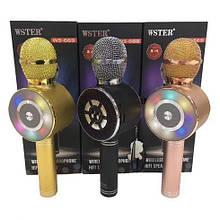 Караоке микрофон Wster WS-669 беспроводной микрофон со встроенным динамиком (USB, microSD, AUX, Bluetooth) AVE