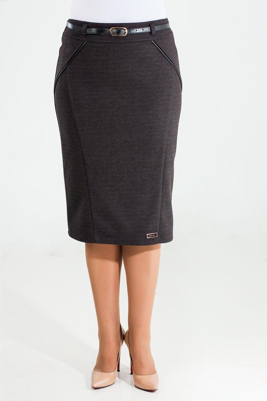 Женская прямая утепленная юбка Софи серого цвета