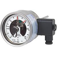 Биметаллический термометр с электроконтактами исполнение в нержавеющей стали  модель 55-8