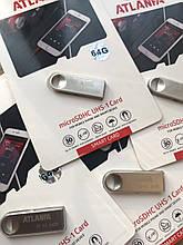 Мини-флешка с отверстием для ключей 2.0 64Gb ATLANFA AT-U3 Silver AVE