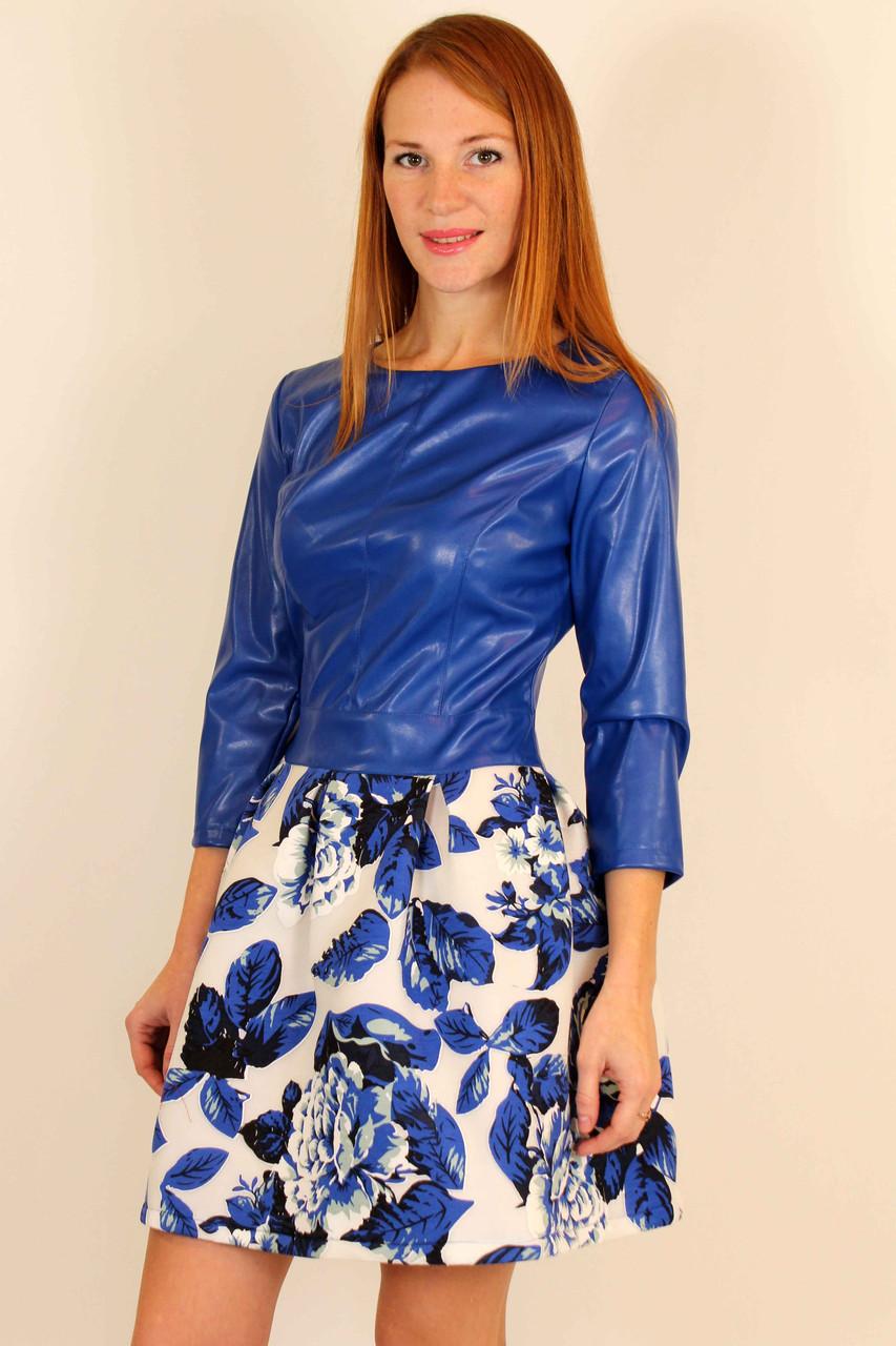 Нарядное платье с пышной юбкой неопрен плюс кожа 42-48 р ( красный, электрик )
