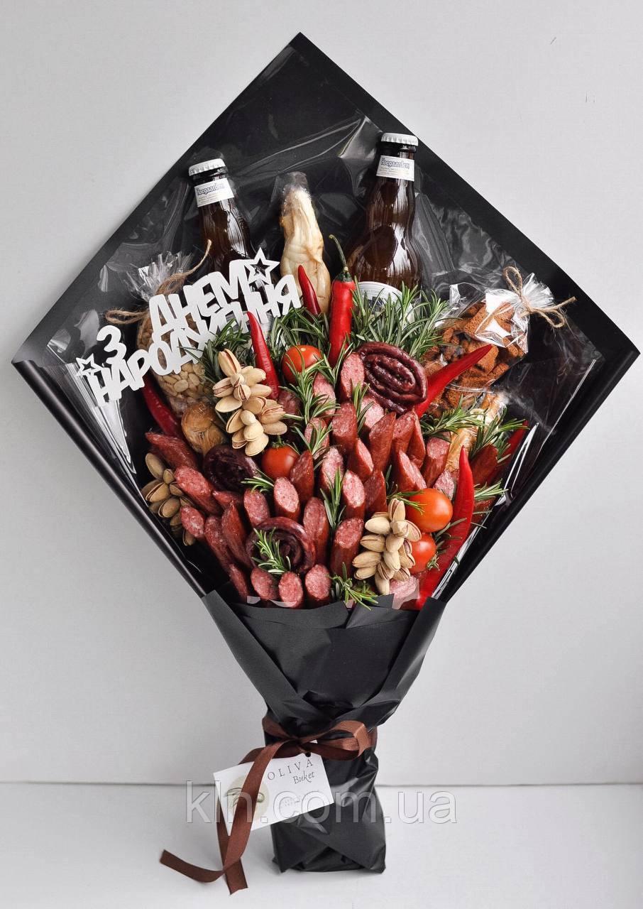 Букет c алкоголем пивом колбасками для мужчина на день рождение праздник