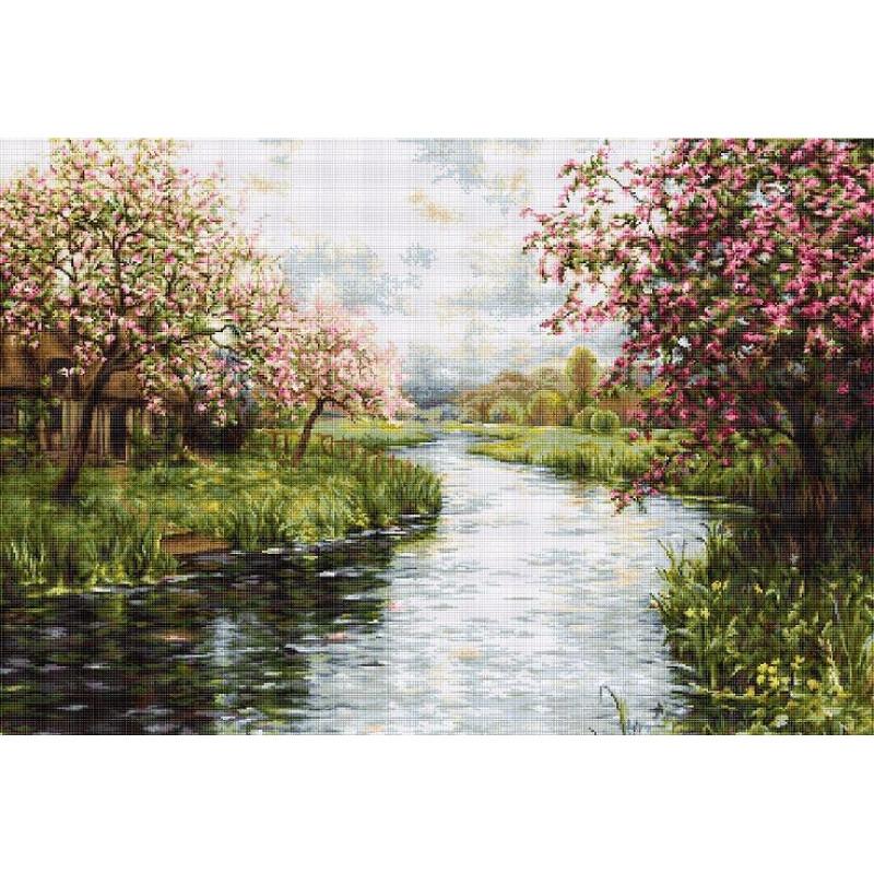Набори для вишивання хрестом Luca S Пейзажі Весняний пейзаж