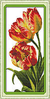 Тюльпаны Набор для вышивания крестиком с печатью на ткани 14ст