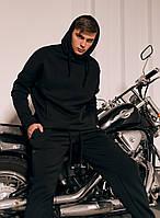 Зимний спортивный костюм оверсайз на флисе, мужской стильный, молодежный теплый костюм, черный