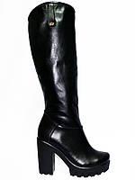 Женские  демисезонные сапоги на высоком каблуке, натуральная кожа, фото 1