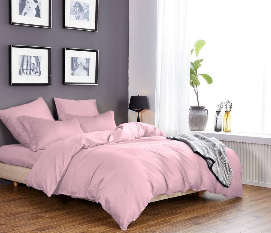 Постельное белье Светло-розовый Сатин однотонный