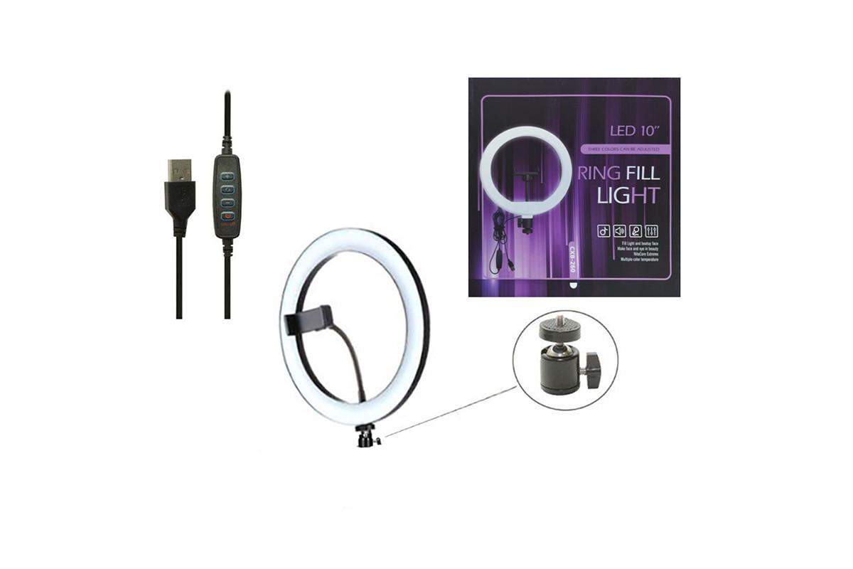Селфи световое кольцо Selfie Ring Fill Light Кольцевая лампа ZD666 10 Вт D=26 см 5500K - 3200К