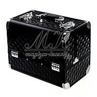 Професійний алюмінієвий кейс для косметики кольори чорний, світло-коричневий хамелеон