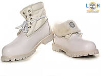 Ботинки зимние женские Timberland Roll Top на меху, женские тимберленды ролл топ белые, тимберленд обувь