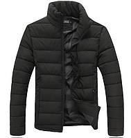 Куртка мужская теплая зимняя черная и красная пуховик без капюшона