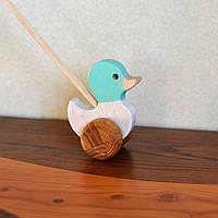 Деревянная игрушка SUNROZ для детей уточка-попыхайчик Бело-голубой (7144)
