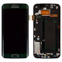 Дисплей для Samsung G925F Galaxy S6 EDGE, зелений, з сенсорним екраном, з рамкою, оригінал (переклеєне скло),