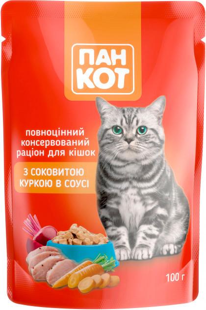 Пан Кіт з соковитою куркою в соусі 100 г * 24 шт, вологий корм для кішок і котів курячий