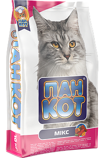 Пан Кот Микс 10 кг сухой полноценный корм для кошек, сухий Мікс