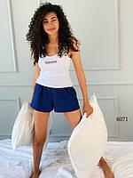 Женская летняя пижама майки и синие шорты короткие