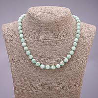 Намисто натуральний камінь Зелений Ангелит гладкий кулька d-8(+-)мм L-45см