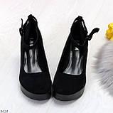 Удобные женственные лаконичные черные замшевые женские туфли на танкетке, фото 3