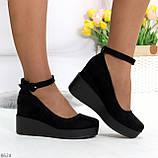 Удобные женственные лаконичные черные замшевые женские туфли на танкетке, фото 6