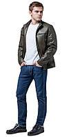 Непродуваемая куртка осенне-весенняя молодежная мужская цвета хаки модель 3645, фото 1