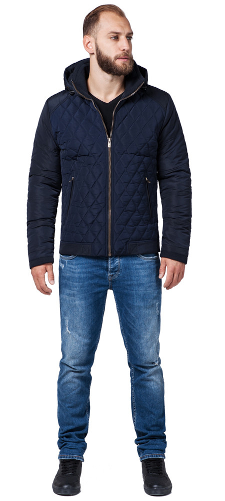 Куртка осенне-весенняя мужская темно-синего цвета модель 2686