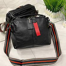 Женская сумка Queens с широким ремешком на 2 отделения черная ВК687