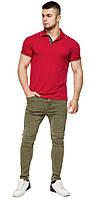 Красная практичная футболка поло мужская модель 6093, фото 1