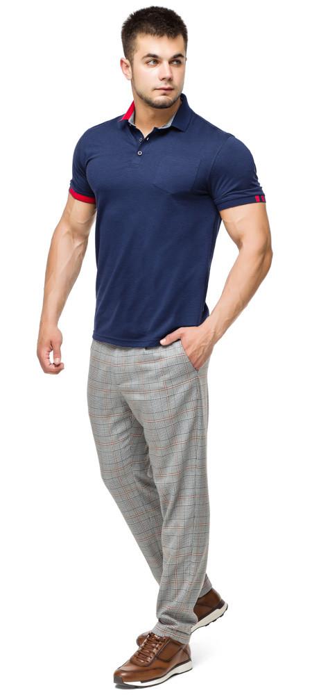 Мужская футболка поло комфортная цвет темно-синий-красный модель 6073